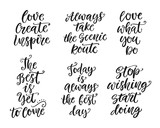 Inspirational lettering set for posters, gift cards, t-shirt print - 176619396