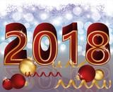 Happy New 2018 Year card, vector illustration - 176621976