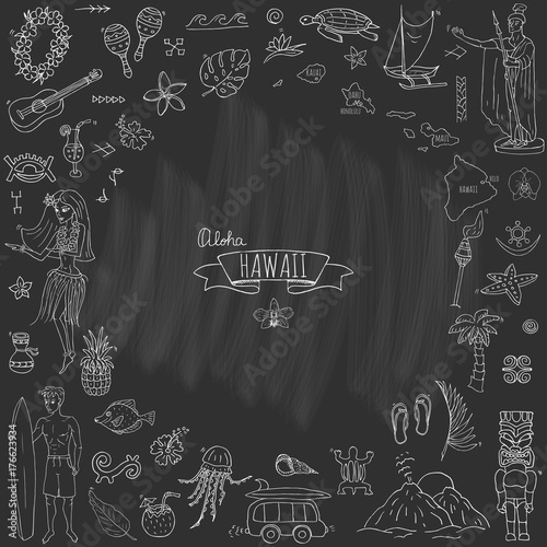 Hand drawn doodle Hawaii icons set Vector illustration isolated ...