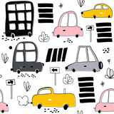 Seamless pattern with hand drawn cute car. Cartoon cars, road sign,zebra crossing vector illustration.Perfect for kids fabric,textile,nursery wallpaper - 176632540