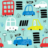 Seamless pattern with hand drawn cute car. Cartoon cars, road sign,zebra crossing vector illustration.Perfect for kids fabric,textile,nursery wallpaper - 176632565