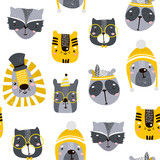 Seamless childish pattern with cute animal faces. Creative nursery background. Perfect for kids design, fabric, wrapping, wallpaper, textile, apparel - 176632597