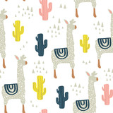 Seamless pattern with lamma, cactus and hand drawn elements. Childish texture. Great for fabric, textile Vector Illustration - 176632726