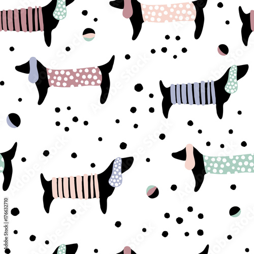 Seamless pattern with dachshunds and hand drawn elements. Childish texture. Great for fabric, textile Vector Illustration - 176632710
