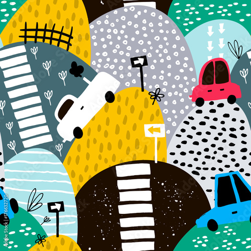 Seamless pattern with hand drawn cute car and hills. Cartoon cars, road sign, zebra crossing vector illustration. Perfect for kids fabric,textile,nursery wallpaper - 176632720