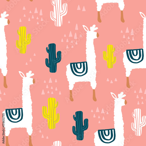 Materiał do szycia Seamless pattern with lamma, cactus and hand drawn elements. Childish texture. Great for fabric, textile Vector Illustration