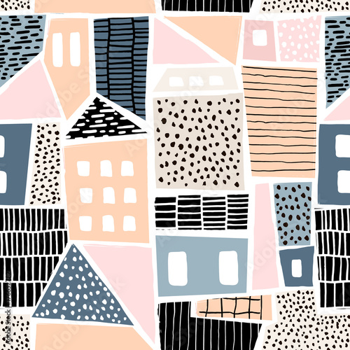 Abstract seamless pattern with houses with hand drawn textures and shapes. Perfect for fabric.textile,wallpaper. Vector Illustration - 176632782