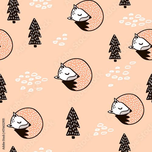 Materiał do szycia Seamless forest pattern with fox,branch and leaves.Minimalistic texture in scandinavian style.Vector background