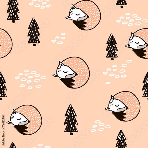 Materiał do szycia Bezszwowe lasu wzór z fox, gałęzi i liści. Faktura minimalistyczna w stylu skandynawskim. Tło wektor