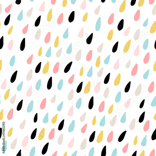Fototapeta Cute seamless pattern with colorful water drops. Childish texture for fabric, textile.Vector Illustration