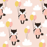 Seamless childish pattern with cute cats, air balloon, and clouds. Creative nursery background. Perfect for kids design, fabric, wrapping, wallpaper, textile, apparel - 176633148