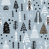 Seamless pattern with winter wood, trees, and ink drawn elements. Creative christmas background. Vector Illustration - 176633163