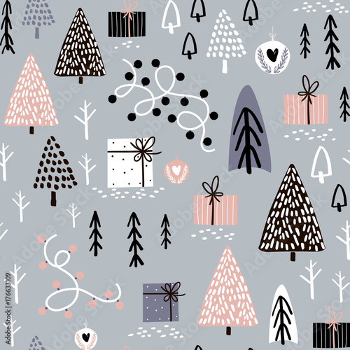 Materiał do szycia Seamless winter pattern with gift box, tree, christmas light. Creative christmas background. Vector Illustration