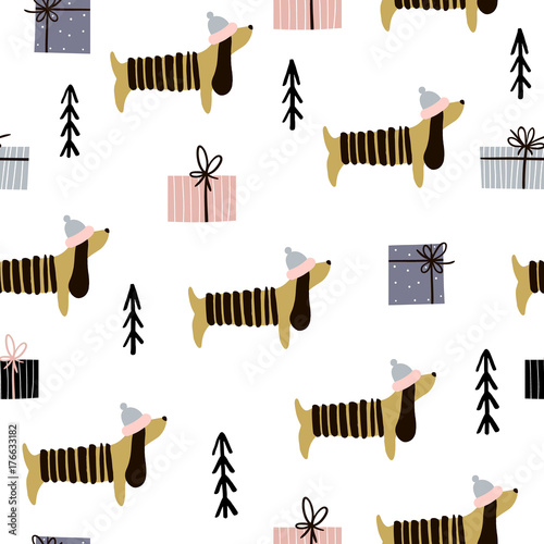 Materiał do szycia Seamless pattern with dachshunds and gift boxes. Creative christmas background. Vector Illustration