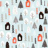 Seamless pattern with winter houses, wood, trees, and ink drawn elements. Creative christmas background. Vector Illustration - 176633325