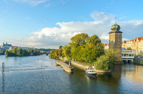 Staande foto Rome Shitkov water tower in Prague, in the Czech Republic. Slavic island. The Vltava River