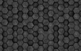 Dark concrete wall of hexagons. 3D rendering - 176638948