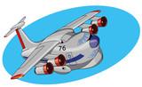 Мультяшный реактивный самолет, векторная иллюстрация