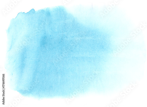 Soft blue watercolor. Light stain with aquarelle paint blotch. - 176649566