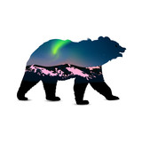 Silhouette of bear with green northern lights above mountains. - 176651305