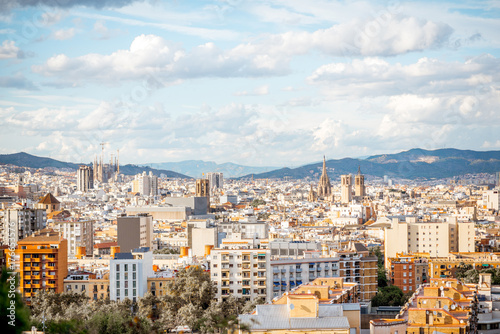 Cityscape top view on Barcelona city from Miramar gardens in Spain
