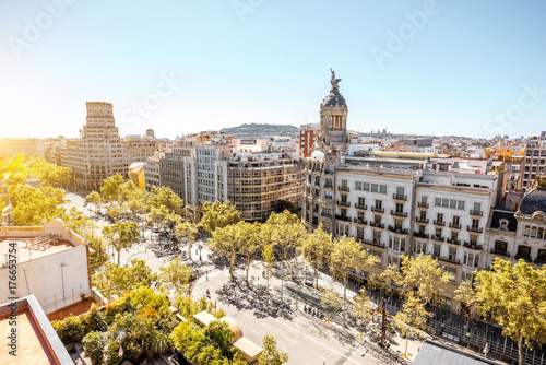 Top view on Gracia avenue with luxurious buildings in Barcelona city
