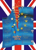 calendar 2018 european union EU flag  - 176657999