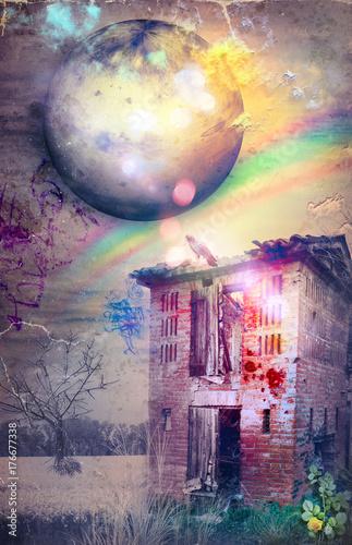 Papiers peints Imagination Casolare diroccato e abbandonato in un tramonto fantastico con arcobaleno.