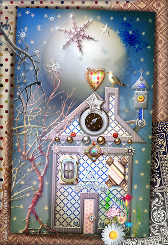 Papiers peints Imagination Casetta delle favole in un villaggio incantato