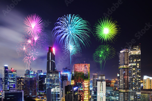 firework over cityscape of Singapore city at night Poster