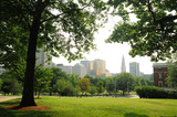 Downtown Hartford CT view from central park with green trees - 176681197