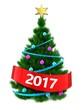 3d dark green Christmas tree with 2017 sign