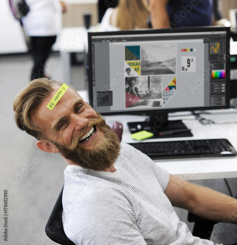 Man Having Be Happy Sticky Note on Forehead Durin Office Break Time Poster