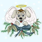 Christmas angel in the form of a small puppy - 176686967
