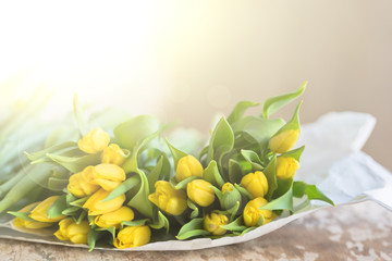 Yellow tulips flowers bouquet