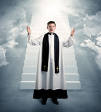 young priest in giving his blessing - 176689703