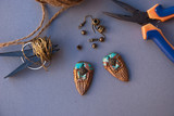 Assembly of earrings indian style from polymer clay. Not finished product. Working process. Hobby, handmade, handicraft, tools. - 176691980