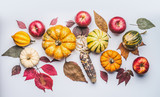Autumn flat lay composing with pumpkin, apples and fall leaves , top view - 176692935