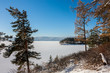 Scenic lake shore in winter