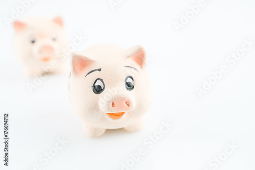 Two lucky pigs on a white background, selected focus and copy space Poster
