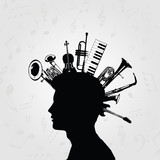 Black and white man silhouette with music instruments. Music instruments with human head for card, poster, invitation. Music background design vector illustration - 176696987