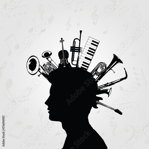 Black and white man silhouette with music instruments. Music instruments with human head for card, poster, invitation. Music background design vector illustration © abstract
