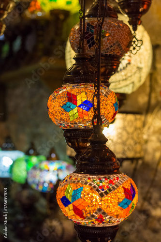 Beautiful turkish mosaic lamps on Istanbul bazaar. Poster