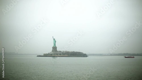 Shot of Statue of Liberty from Hudson river