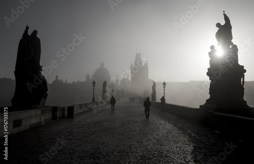 Black and white panorama of Charles Bridge in Prague, Czech Republic Poster