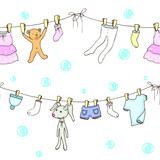 Seamless backgroung of washed baby clothes in vector