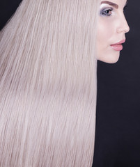 Portrait of a female model with perfect grey hair