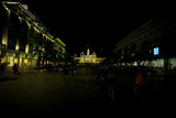 City lit by lights at night