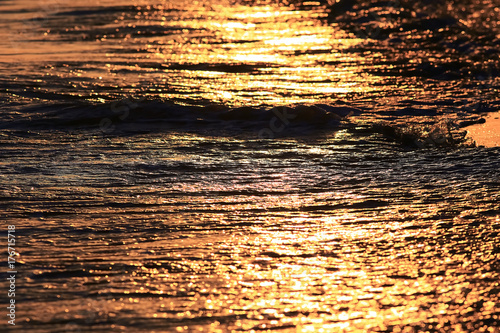 Texture of the waves at sunset