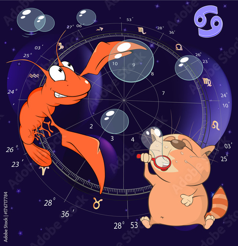 Deurstickers Babykamer Illustration of a Zodiac Signs Cancer. Cartoon Character
